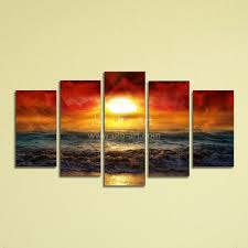 decor cheap 5 panel canvas wall art painting ocean beach for