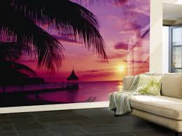 living room interior gorgeous purple wallpaper murals