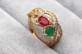 ruby emerald rings images H1a18 green red 100 natural emerald ruby 14k yellow solid gold jpg