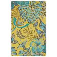 Yellow Indoor Outdoor Rug Lucca Sea Flower Yellow 5 Ft X 7 Ft 6 In Indoor Outdoor Area