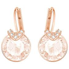 pierced earrings v pierced earrings pink gold plating gemorie