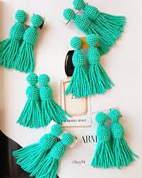 oscar de la renta earrings turquoise beaded tassel earrings
