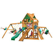 gorilla playsets frontier treehouse swing set with amber posts 01