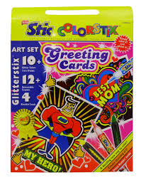 stic colorstix glitterstix art set with greeting card for kids