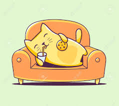 illustration of color character cat lying on the sofa with milk