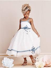 line spaghetti straps tea length flower dresses