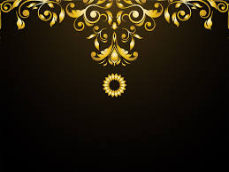 luxury ornaments ppt backgrounds black border frames yellow