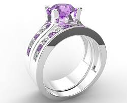 bridal ring set amethyst bridal wedding ring set custom ring order for jeff