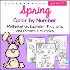spring color spring color by number fractions factors multiples and