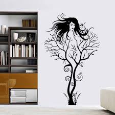 popular plastic wall murals buy cheap plastic wall murals lots creative sexy girl tree wall sticker removable vinyl bedroom living room wall mural decals indoor background