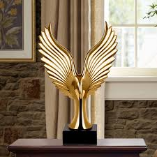 home sculptures golden silver creative home decor eagle wing abstract sculpture
