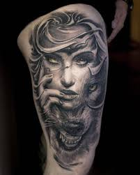 female thigh tattoo designs image result for indian woman and wolf tattoo wolf tats
