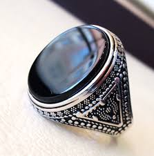 big silver rings images Aqeeq natural agate onyx huge big stone oval black flat gem jpg