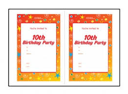 birthday party invitation templates for a 10 year old 10th