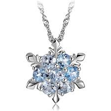 blue cubic zirconia necklace images Womens cubic zirconia sterling silver blue crystal snowflake pendant png