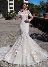 mermaid wedding dress buy discount gorgeous tulle lace bateau neckline mermaid wedding