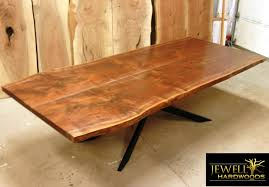 10 ft black walnut book matched dining table with xavier base