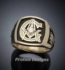 3mm diamond scottish rite masonic ring in gold with 3mm diamond style 020