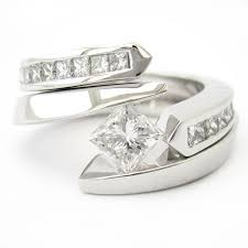 tension ring cut tension set solitaire diamond engagement ring matching