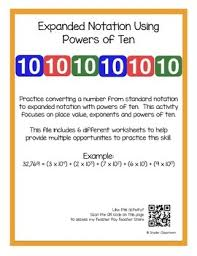 expanded notation using powers of ten worksheets by snyder classroom