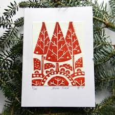 make your own christmas cards mistletoe and holly block print