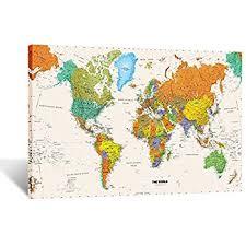Map Wall Decor by Creative World Map Canvas Premium Canvas