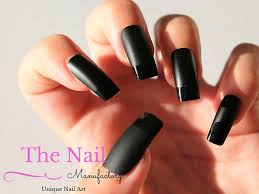 black fake nails set of handpainted french style nails in