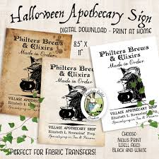 vintage halloween fabrics witch apothecary potion sign halloween digital download