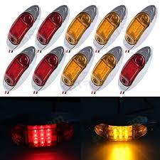 led side marker lights for trucks partsam 5 red 5 amber w bezel oval side marker clearance led light