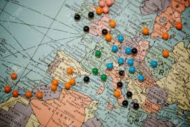 map travel travel map with push pins with focus centered on central europe