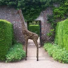garden animal doe sculptures owls statues garden candle and blue
