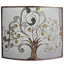 decor cool steel tree pattern single panel fireplace screen for