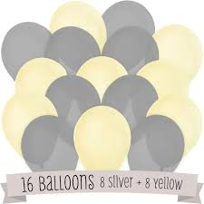 amazon com 16 pack of latex balloons 8 yellow u0026 8 gray toys