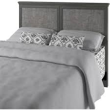 altra stone river full queen headboard with fabric panels