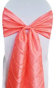 chair sash ties coral pintuck taffeta chair sashes