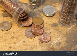coin counter stack pennies coin counter other coins stock photo 181046303