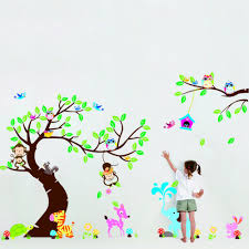 happy owl monkey tree wall sticker for children bedroom living