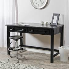 idabel dark brown wood modern desk with glass top small writing desk with drawers and compartments best home
