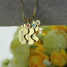 Mothers Necklace With Initials Aliexpress Com Buy Gold Color Baby Feet Charm Birthstone Mother