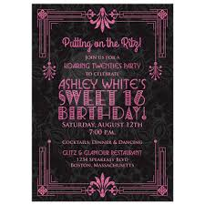 Pink And Black Sweet 16 Decorations Sweet 16 Birthday Invitation Roaring 20s Art Deco Black Pink