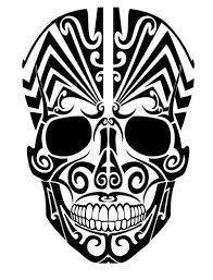 tribal skull from frontal view vector free