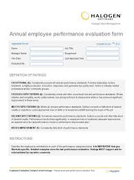 annual employee performance evaluation form performance
