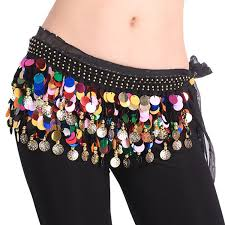 bellylady plus size belly dance hip scarf with paillettes