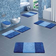 cool bath rugs for modern bathroom design with blue color schemes