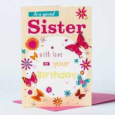birthday card sister butterfly only 99p
