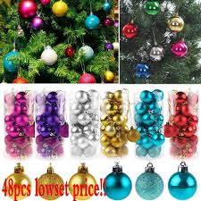 48pcs glitter christmas balls baubles xmas tree hanging ornament