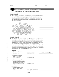 minerals of the earth u0027s crust 6th 8th grade worksheet lesson