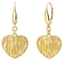gold earings 14kt yellow gold heart dangle earrings