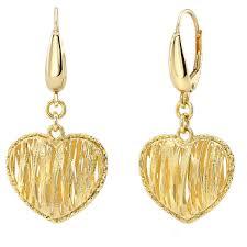 gold earings 14kt yellow gold heart dangle earrings