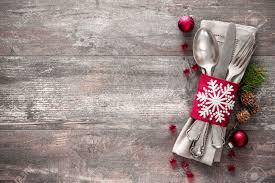 christmas table place setting holidays background stock photo